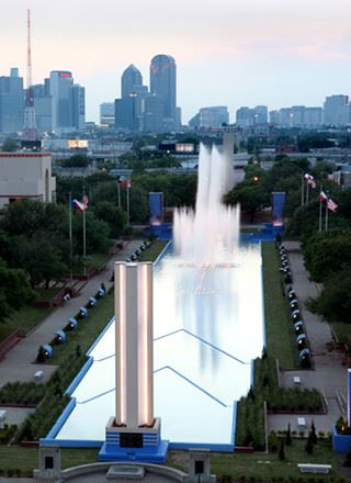 Aerial view of fountains shooting at Fair Park in Dallas