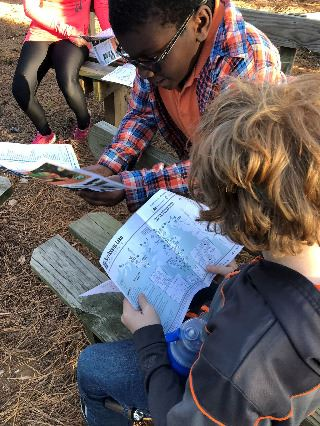 Children looking at the map
